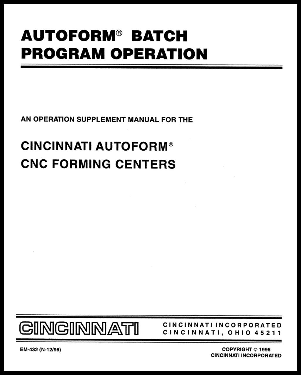 EM-432 (N-12-96) Autoform Batch Program Operation