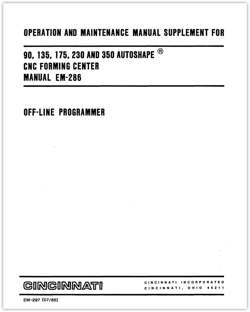 EM-297 (07-86) AUTOSHAPE Offline Programmer