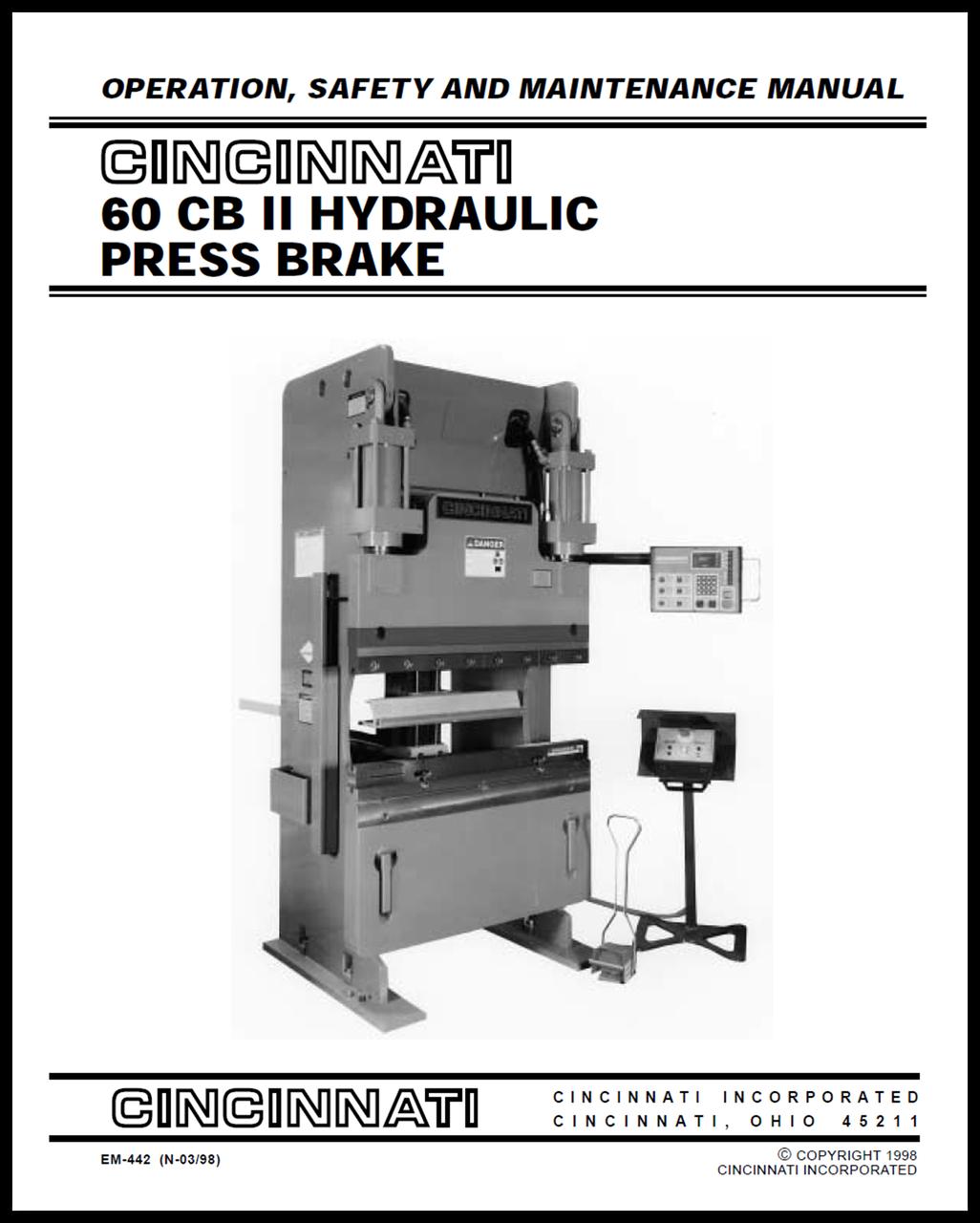60 cb ii hydraulic press brake operation safety and maintenance rh ci online e ci com Cincinnati Press Brake AutoForm 230 Pump Cincinnati MaxForm Press Brake