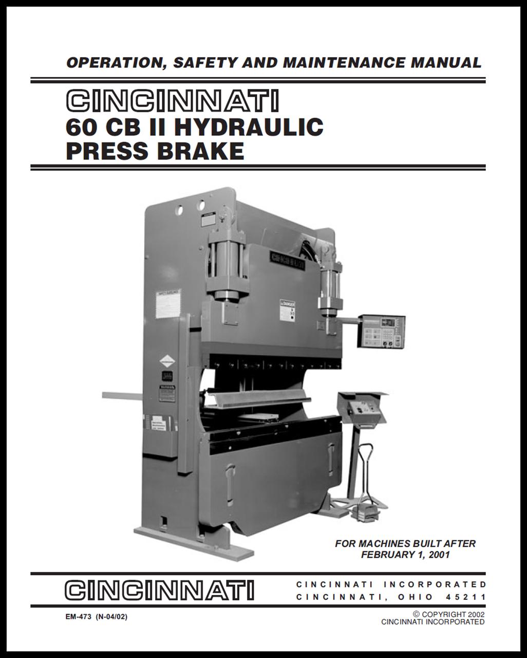 60 cb ii hydraulic press brake operation safety and maintenance rh ci online e ci com Cincinnati Press Brake Programming Cincinnati Press Brake Chart