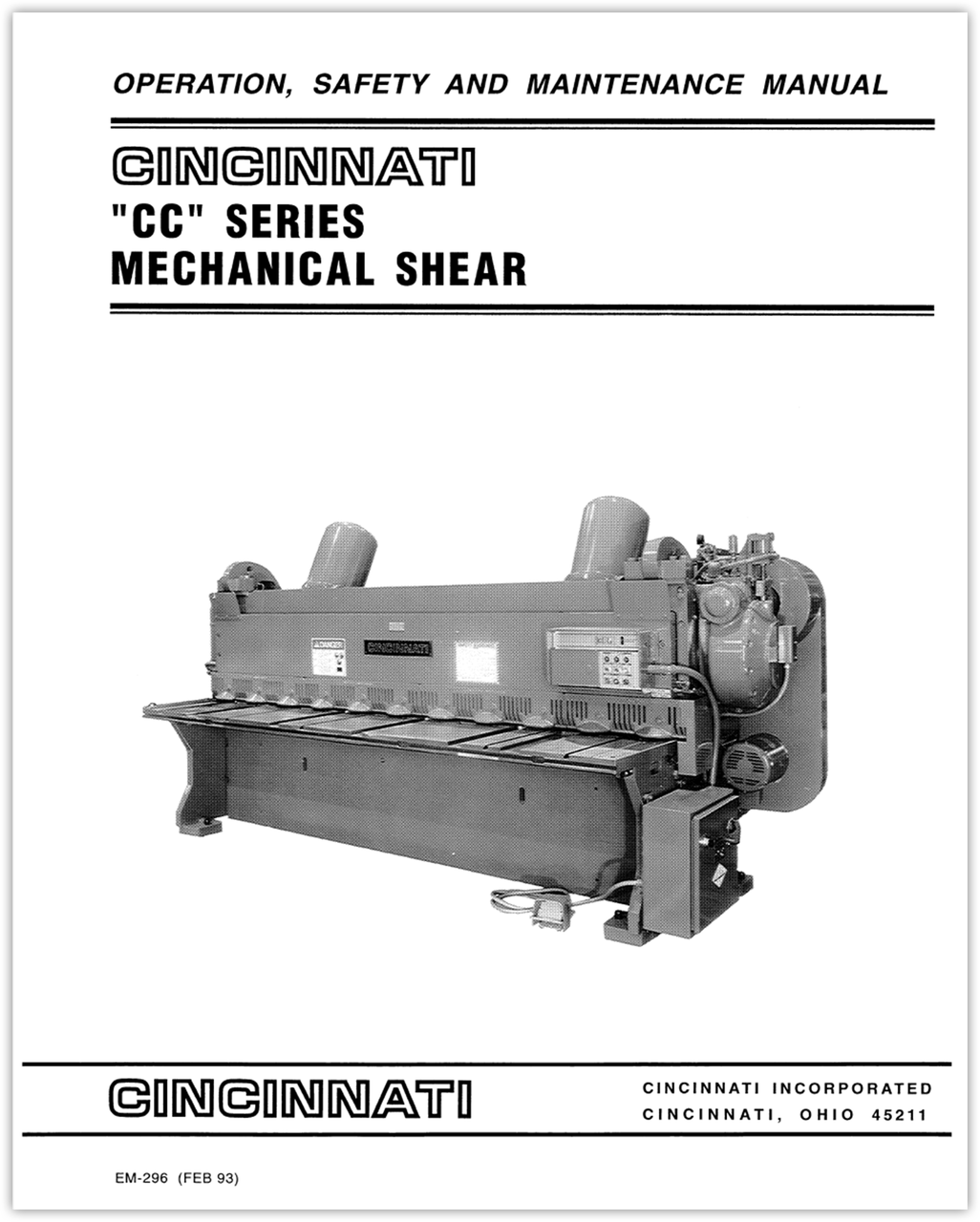 EM-296 (FEB 93) CC Series Mechanical Shear Operation, Safety and Maintenance