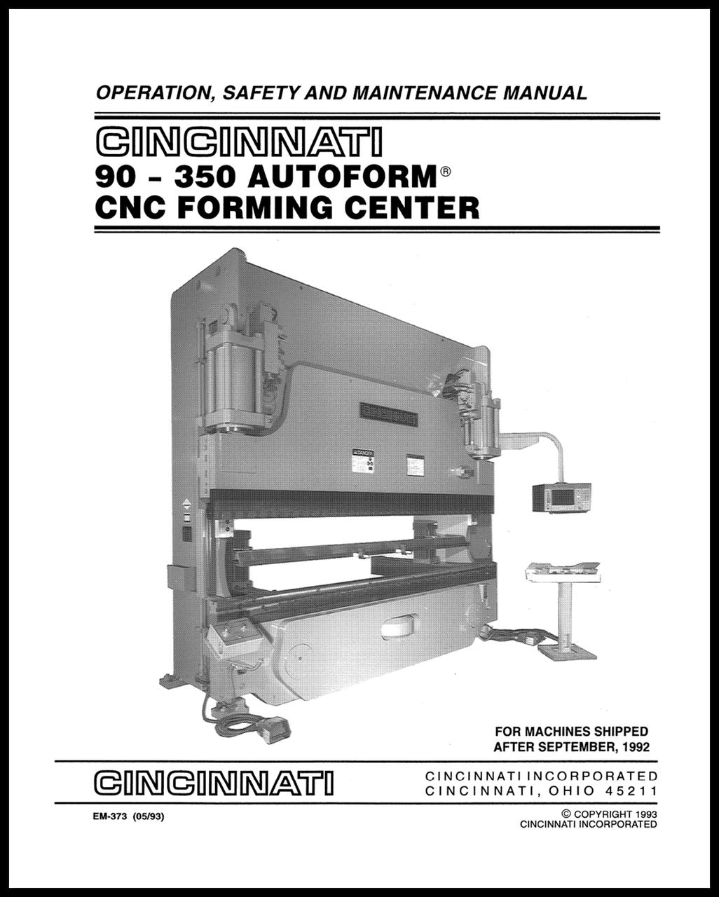EM-373 (05-93) 90-350 AUTOFORM CNC Forming Center Operation