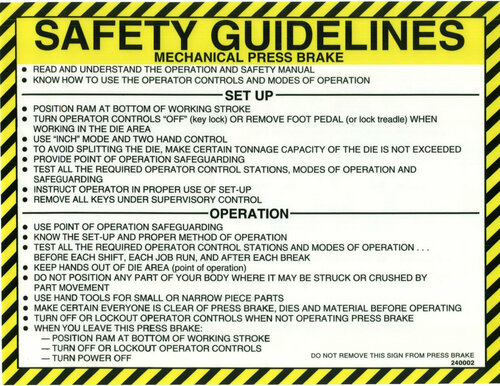 Safety Sign: Press Brake (Mechanical) - Safety Guidelines (English)