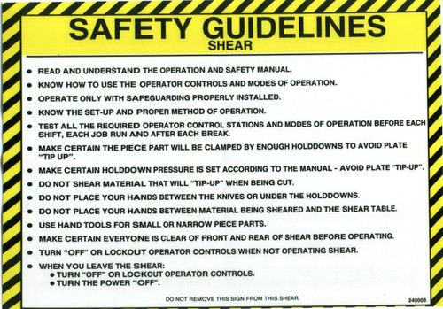 Safety Sign: Shear - Safety Guidelines (English)
