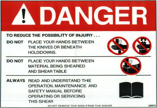 Safety Sign: Shear - Danger (English)