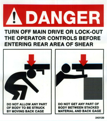 Safety Sign: Shear - Danger Rear (English)