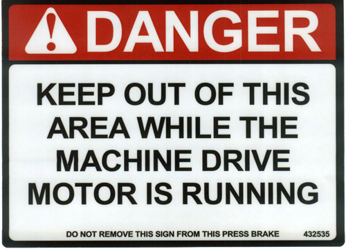 Safety Sign: Press Brake - Keep Out of Area (English)