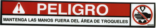Safety Sign: Press Brake and PM Press- Danger Die Area (Spanish)