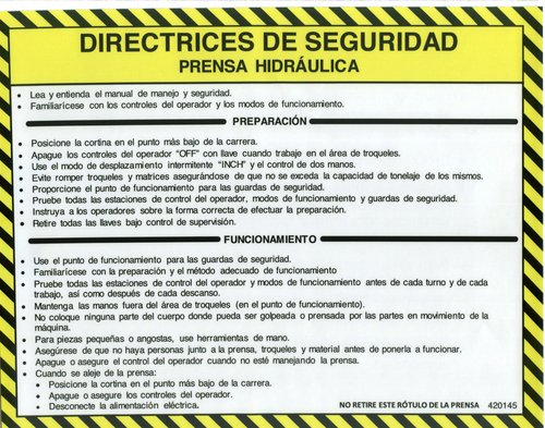 Safety Sign: Press Brake (Hydraulic) - Safety Guidelines (Spanish)