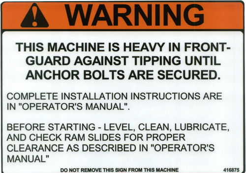 Safety Sign: Press Brake (Hydraulic or Mechanical) Warning Tipping Hazard (English)