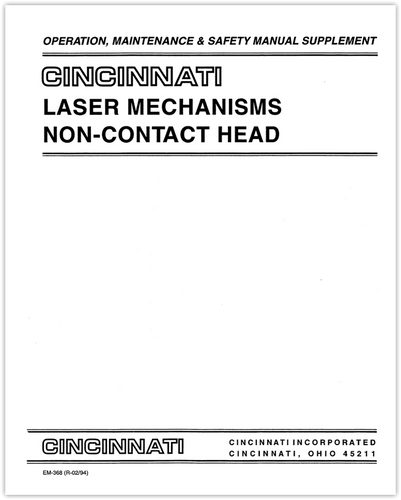 EM-368 (R-02-94) Laser Mechanisms Non-Contact Head Operation, Maintenance & Safety Manual Supplement