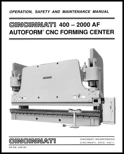 cincinnati incorporated press brake owners manuals rh ci online e ci com Cincinnati MaxForm Press Brake Press Brake Parts List