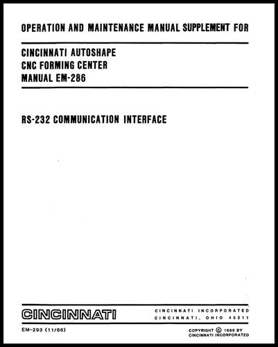 EM-293 (11-86) AUTOSHAPE RS232 Communication Interface