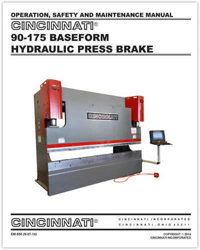 Cincinnati Press brake Repair manual