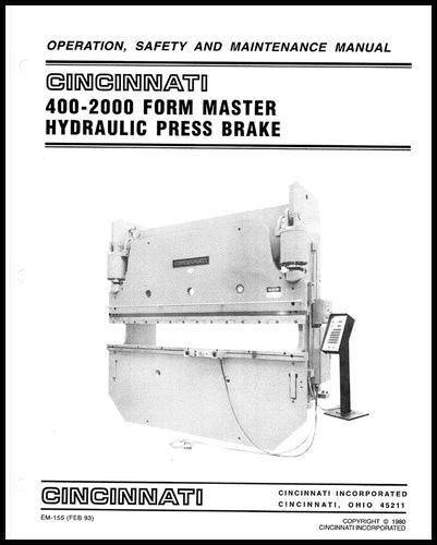 EM-155 (FEB 93) Operation, Safety, and Maintenance Manual, 400-2000 FM Hydraulic Press Brake