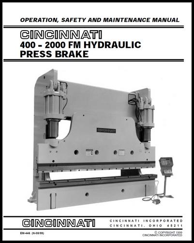 cincinnati incorporated press brake owners manuals rh ci online e ci com Cincinnati Press Brake Book Cincinnati Press Brake AutoForm 230 Pump