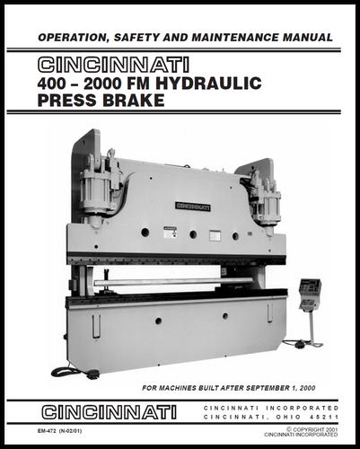 cincinnati incorporated press brake owners manuals rh ci online e ci com Cincinnati Press Brake Book Cincinnati Press Brake Book