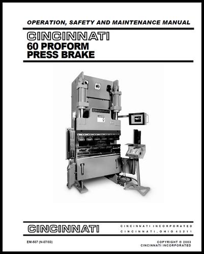 cincinnati incorporated press brake owners manuals rh ci online e ci com Cincinnati Press Brake AutoForm 230 Pump Cincinnati MaxForm Press Brake