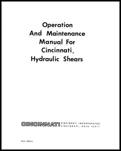 72016-A Operation and Maintenance Manual for CINCINNATI Hydraulic Shears