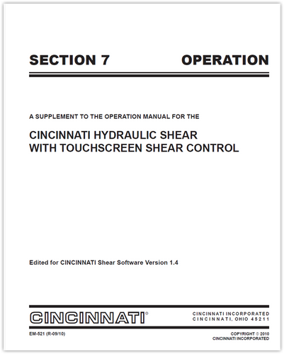EM-521 (R-09-10) HS Touchscreen Section 7 Operation