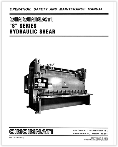 S Series Hydraulic Shear Operation, Safety and Maintenance Manual (EM-138)