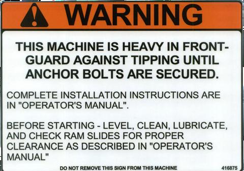 Safety Sign Press Brake Hydraulic Or Mechanical Warning