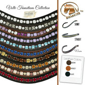Stunning Dressage Browbands | Volte Transitions Collection - Genuine Swarovski Crystals Alternating in Two Sizes and a Variety of Bling Colors.