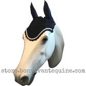 Navy Blue with white-silver cording and clear crystal bling trim. Horse Fly Veil Bonnet Ear Net