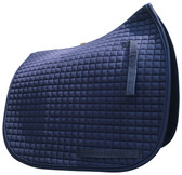 A classic!  Navy Blue Dressage Saddle Pad by PRI.  Shown here with matching navy blue trim/piping.