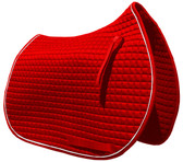 Red All-Purpose English Saddle Pad.  Shown Here with White Piping.