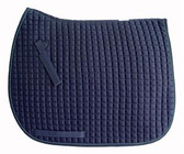 A classic!  Navy Blue Dressage Saddle Pad by PRI.  Shown here with Smoke trim/piping.
