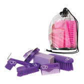 Bling Youth Grooming Set Features 6 PIeces:  Hoof Pick, Body Brush, Face Brush, Mane and Tail Comb, Sponge, Curry Comb/Brush.