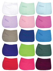 Selecting the perfect colorful saddle pad for your horse.