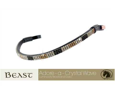 Luminocity Tri-Colored Crystal Dressage Browbands - Features Blocks of Clear, Gold and Black Crystals.