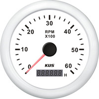 KUS Tachometer (6000RPM) and Digital Hourmeter - White
