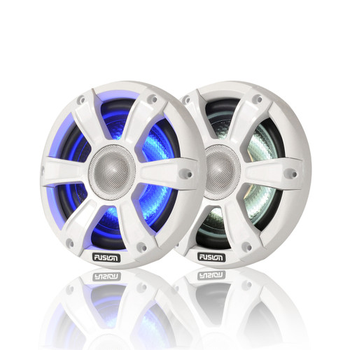 """Fusion 6.5"""" 230 WATT Coaxial Sports White Marine Speakers with LED's"""