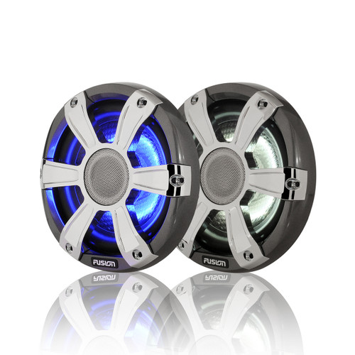 """Fusion 6.5"""" 230 WATT Coaxial Sports Chrome Marine Speakers with LED's"""