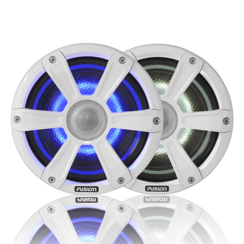 """Fusion 7.7"""" 280 WATT Coaxial Sports White Marine Speakers with LED's"""