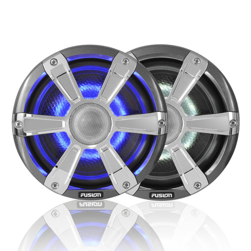 """Fusion 7.7"""" 280 WATT Coaxial Sports Chrome Marine Speakers with LED's"""