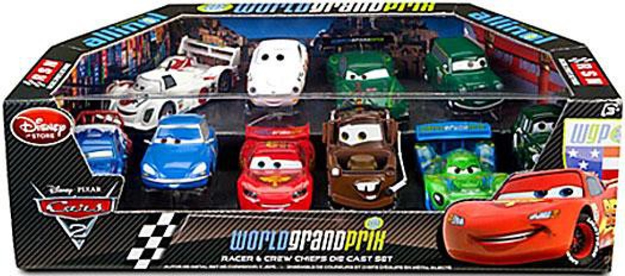 disney cars cars 2 143 multi packs world grand prix racer crew chiefs exclusive 143 diecast car. Black Bedroom Furniture Sets. Home Design Ideas