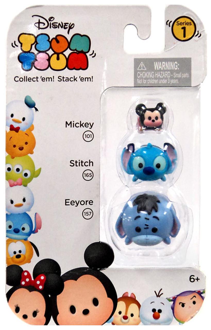 Disney Tsum Tsum Series 1 Mickey, Stitch & Eeyore Minifigure 3-Pack #101, 165 & 157