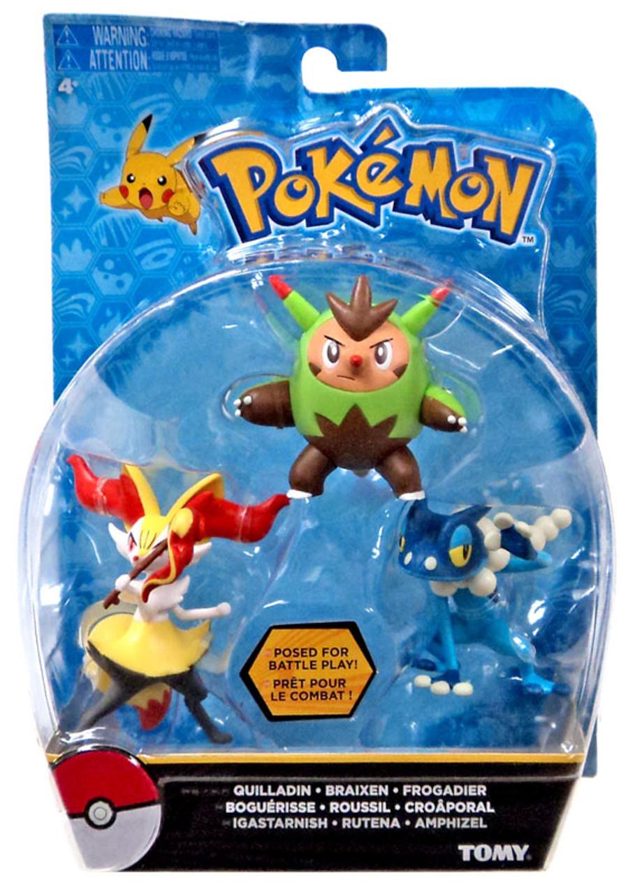 Pokemon Action Pose Quilladin Braixen Frogadier 3 Inch Mini Figure Pack