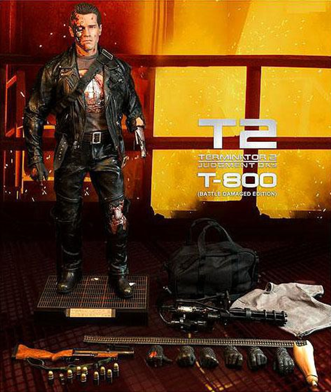 Terminator 2 Judgment Day Masterpiece T-800 Collectible Figure [Battle Damaged]