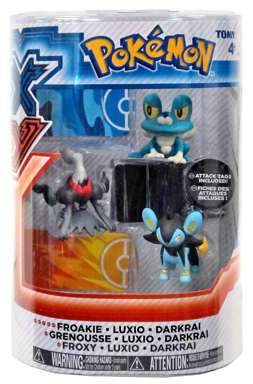 Pokemon XY Basic Froakie Luxio Darkrai Figure 3 Pack Tomy