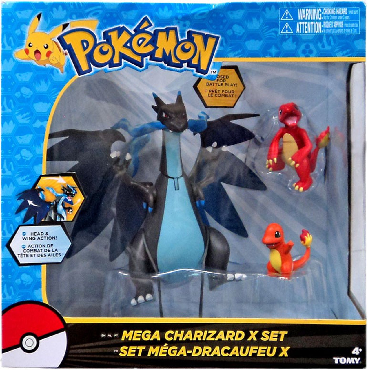 pokemon mega charizard x exclusive figure 3 pack set charmander