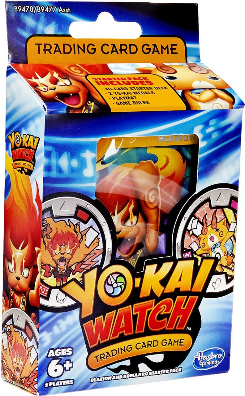 yo kai watch trading card game blazion komajiro starter deck hasbro