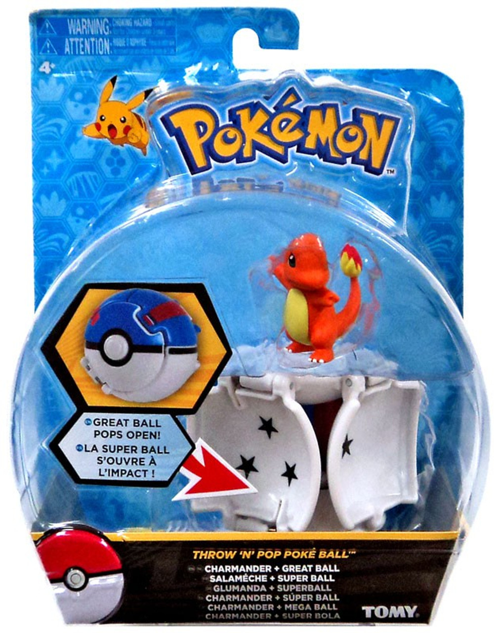 Pokemon Throw N Pop Pokeball Charmander Great Ball Figure Set Tomy