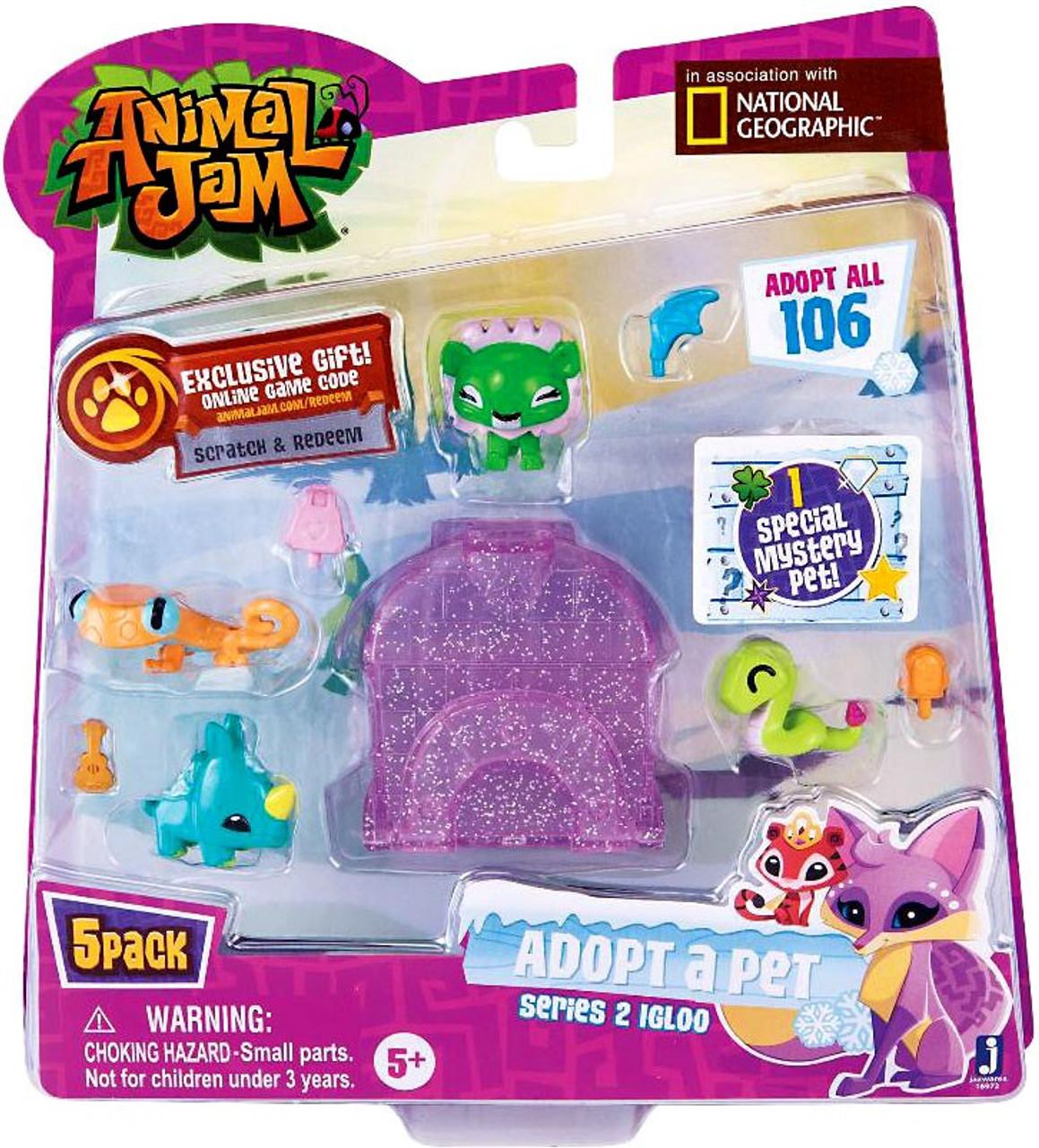 Animal Jam Adopt A Pet Series 2 Purple Igloo Mini Figure 5 Pack