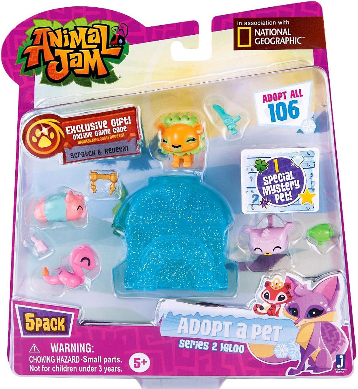 Animal Jam Adopt A Pet Series 2 Blue Igloo Mini Figure 5 Pack