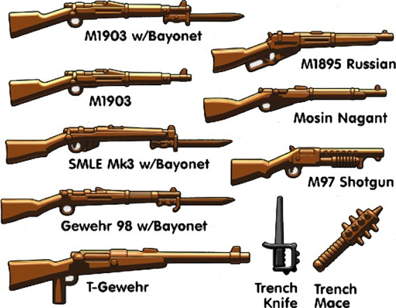 BrickArms WW1 Trench Pack 2.5 Weapons Pack - ToyWiz